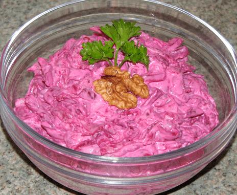 Рецепт салата со свеклой и грецкими орехами с майонезом