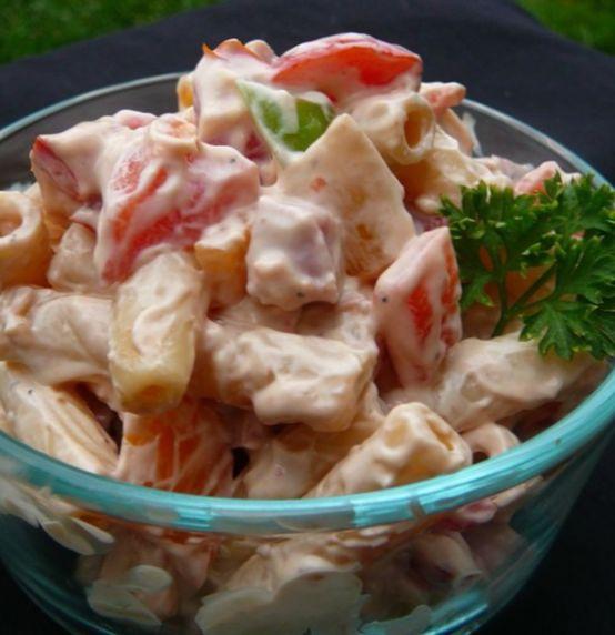 салат из ветчины с макаронами