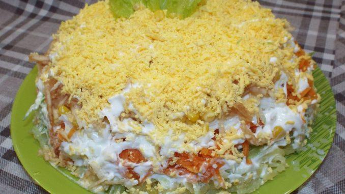 Слоеный салат с зеленой редькой